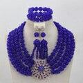 Royal Blue Crystal Collar para La Boda Chunky Crystal Rhinestone Broche WD752 Granos de la Joyería Set Envío Libre