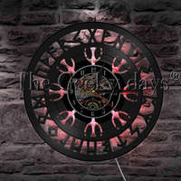 1 pieza de brújula vikinga  luz LED nocturna  reloj de pared con registro de vinilo  misterioso símbolo  talismán nórdico  reloj de pared  iluminación decorativa Lámparas LED de pared de interior     -