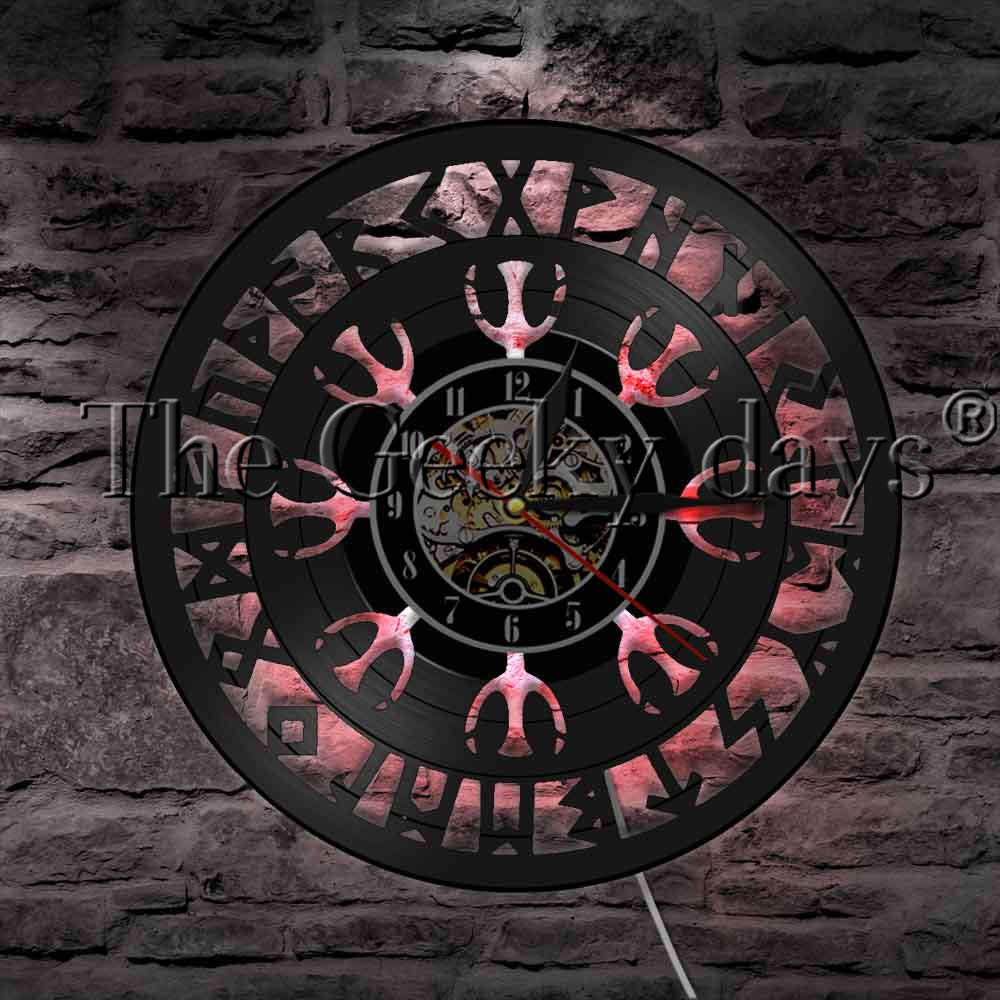 цена на 1Piece Viking Compass LED Night Light Vinyl Record Wall Clock Mysterious Symbol Norse Talisman Wall Watch Decorative Lighting