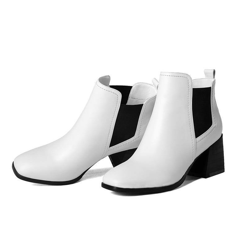 black Short Punk Automne Talons Printemps Solide Bottes Plush 1 white white Chaussures 34 Couleurs Mode 43 Hauts Morazora Bout 2 Deux Black Femelle Cheville Carré Grande Taille Pu Pu Plush LA354Rjq