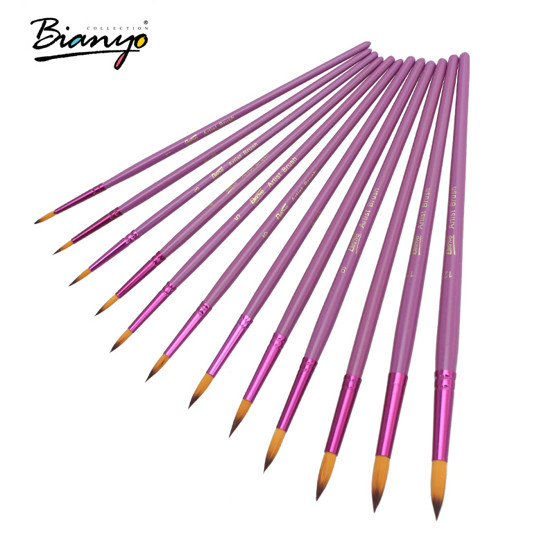 Bianyo 12Pcs Different Size Round Shape Nylon Hair Paint Brush Purple Wooden Handle Watercolor Paint Brushes for Art suppliesBianyo 12Pcs Different Size Round Shape Nylon Hair Paint Brush Purple Wooden Handle Watercolor Paint Brushes for Art supplies