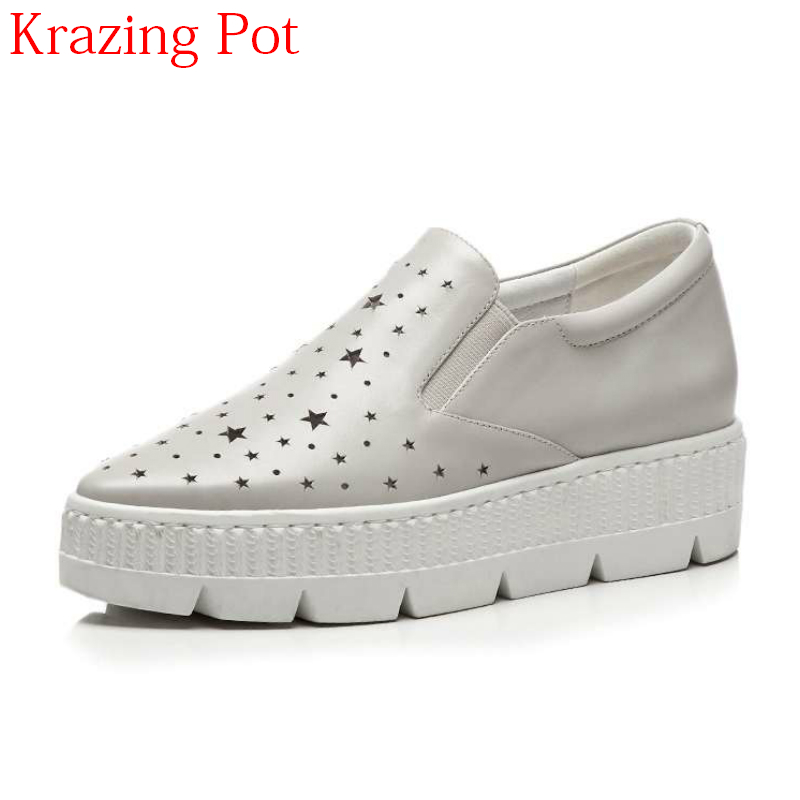 2018 Genuine Leather Casual Shoes Platform Sneakers Pointed Toe Gorgeous Five star Patterns Hollow Women Vulcanized Shoes L22