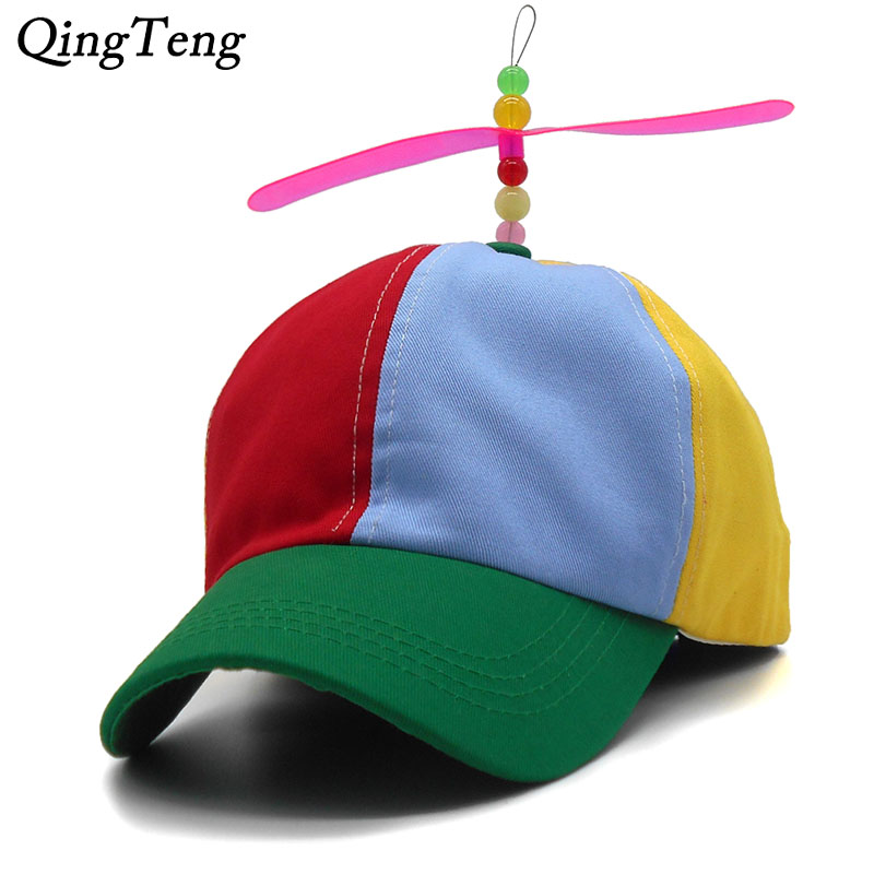Funny Adult Kids Propeller   Baseball     Caps   Colorful Patchwork Brand Hat Propeller Bamboo Dragonfly Children Boys Girls Snapback