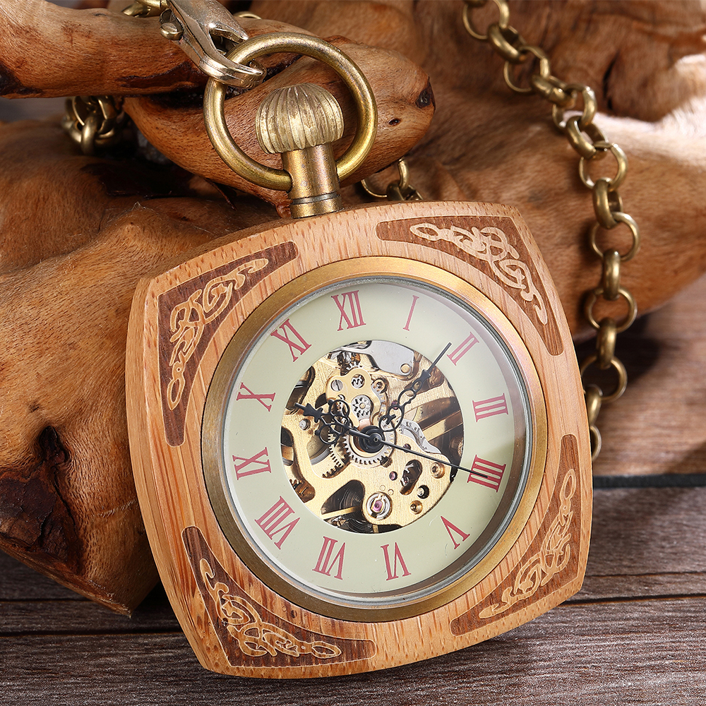 Wooden Case Mechanical Pocket Watch Antique Gold Skeleton Hollow Waist Watches Steampunk Hand Wind Fob Chain Clock for Gifts цена