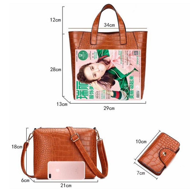 29e133c981d Bonsacchic 3pcs Brown Leather Handbag Set Luxury Handbags Women Bags  Designer Tote Bag Set Small Crossbody Bags for Women 2018-in Shoulder Bags  from Luggage ...