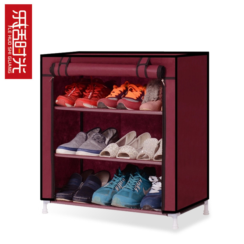 FREE Shipping 3 Tier  Non-woven Single row Shoe Cabinets shelves simple living room home decorations debris storage 1208s simple iron shoe rack multilayer living room removable storage finishing metal shelves