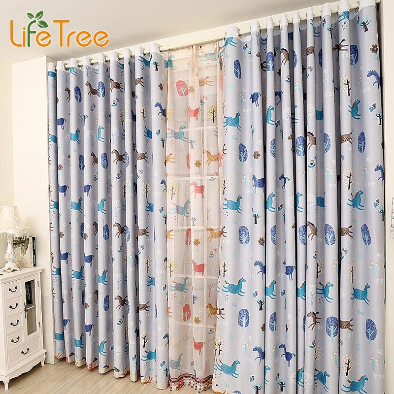 Colorful horse printed children bedroom blackout curtain - Childrens bedroom blackout curtains ...