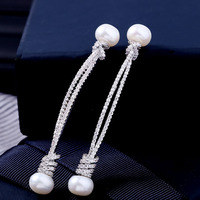 High quality temperament female long star same paragraph natural pearl earrings with AAA zircon jewelry earrings