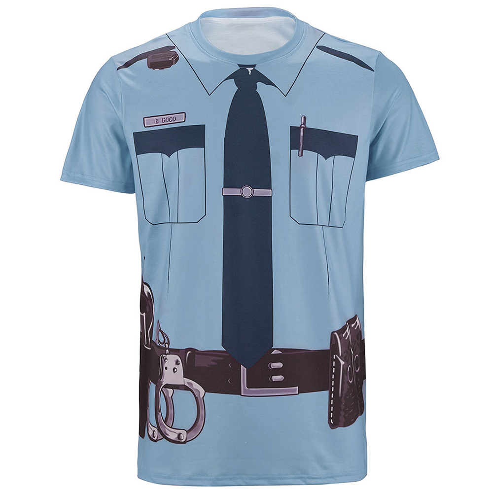 Men Police 3D Funny   T     Shirt   Pilot Pirate Tuxedo Prisoner Clown Sailor Costume Tee Top Adult Halloween Carnival Party Cosplay