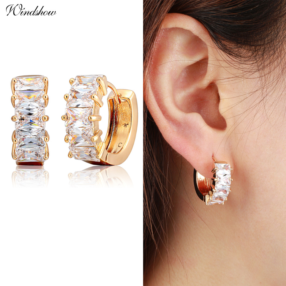 Yellow Gold Color Small Loop Round Circles Pave Princess Cut Zircon Stones Hoops Earrings For Women Jewelry Brincos Bijoux Aros In Hoop From
