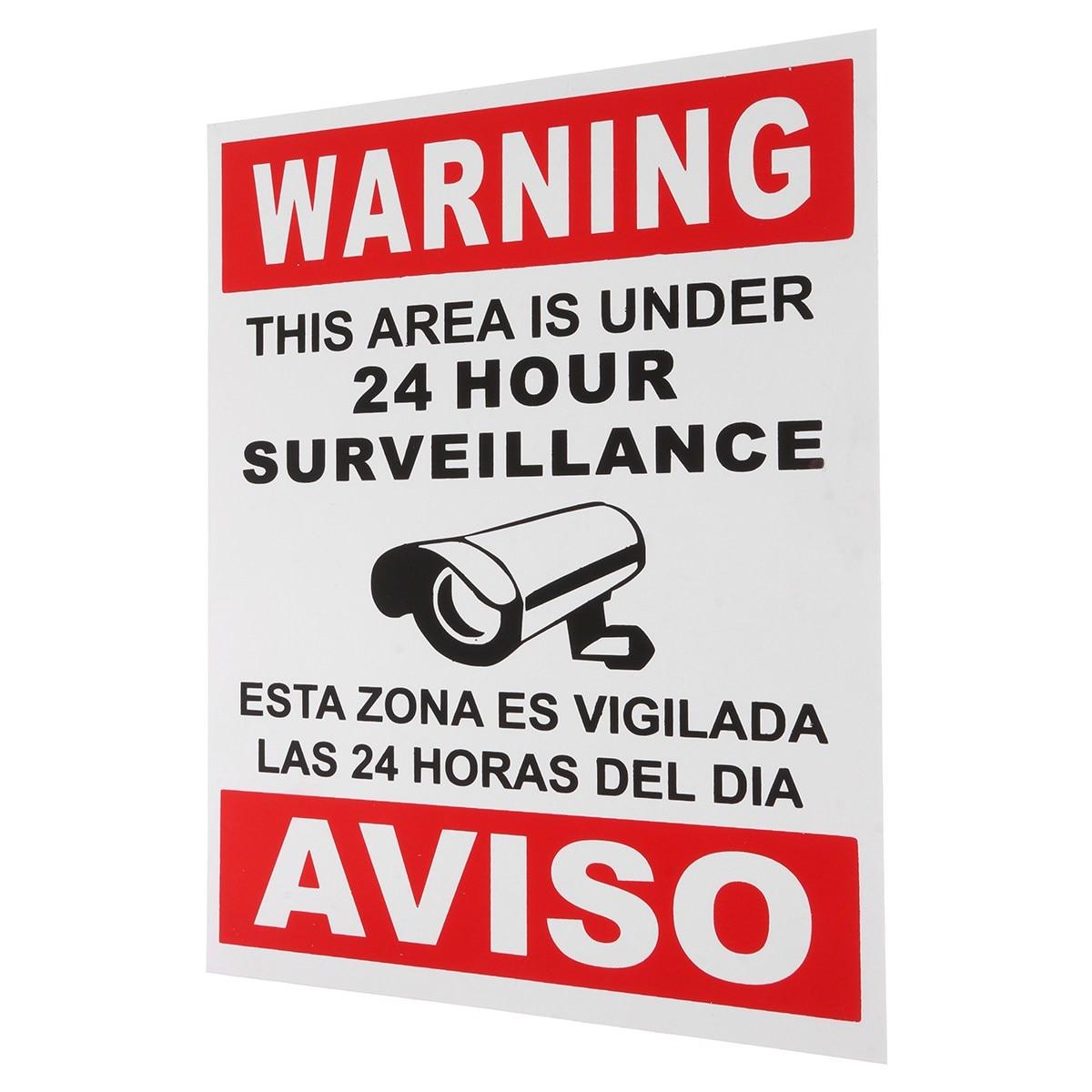 Новый safurance Предупреждение этой области находится под 24 часа наблюдения английский и испанский знак безопасности CCTV дома Детская безопасно...