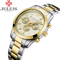 Julius hombres de la marca top reloj reloj resistente al agua relojes de hombre de negocios de acero inoxidable reloj de pulsera de cuarzo deporte hombre reloj relogios
