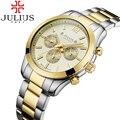 Julius homens marca de topo relógio relógio à prova d' água relógios homem de negócios de aço inoxidável relógio de pulso de quartzo esporte reloj hombre relogios