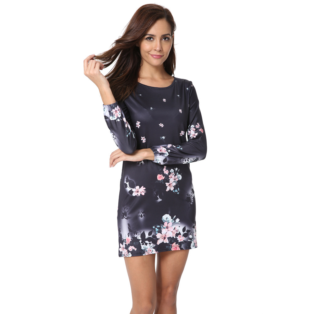 ILISMABA 2018 New Spring And Summer Women Dress Popular Mini Dress Long-Sleeved Dress Girl Print High Quality Sexy Dresss