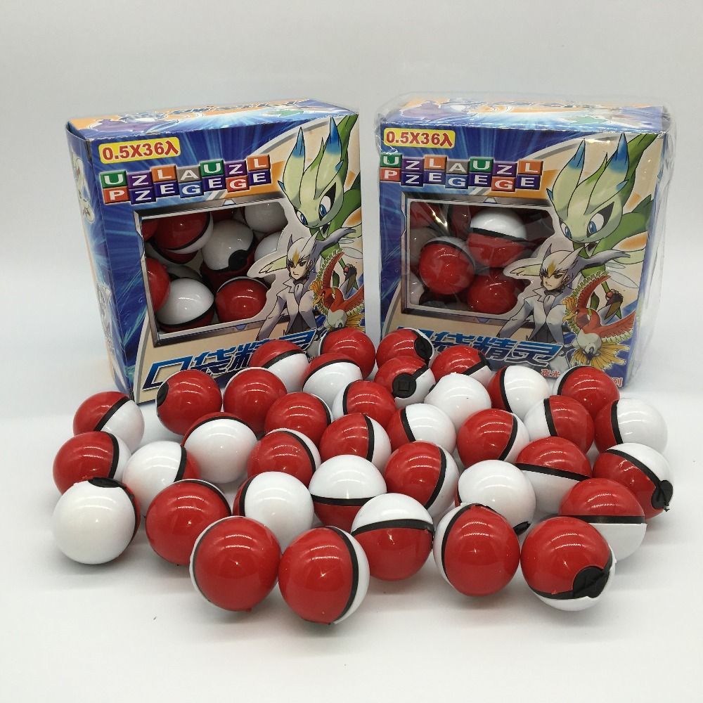 36pcs/lot Multicolor / red PokeBall Crystal Pet pokebolas Poke Action Figure Pokeball Pikachu figure Stickers Game Ball toy