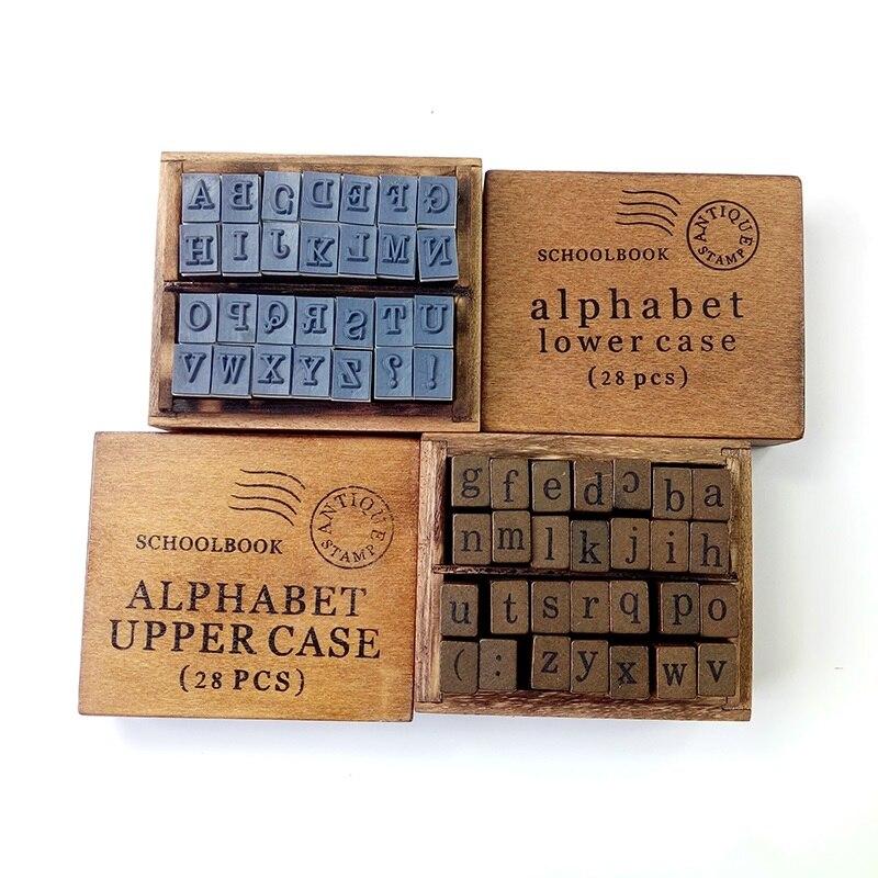 28 Pcs/set Long strip design Vintage DIY Multi Purpose Alphabet  Clear Wood Rubber Stamps Set Wooden Box 2 Style Wholesale