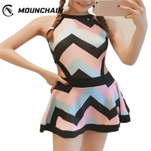 Woman Lady Conservative One piece Stripe Pattern Backless Swimsuit Charming Slim Swimwear Dress