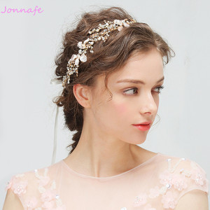 Image 2 - Jonnafe Gold Boho Leaf Hair Crown Wedding Headband Rhinestone Bridal Hair Vine Accessories Women Jewelry Headpiece