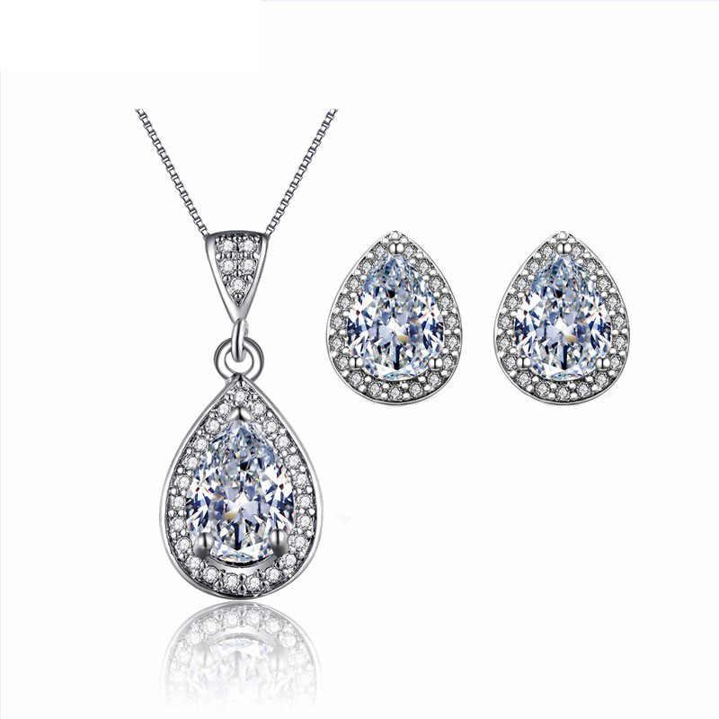 Water Drop CZ Wedding Jewelry Sets For Brides White Gold color Earring Necklace Sets Parure Bijoux ASM019