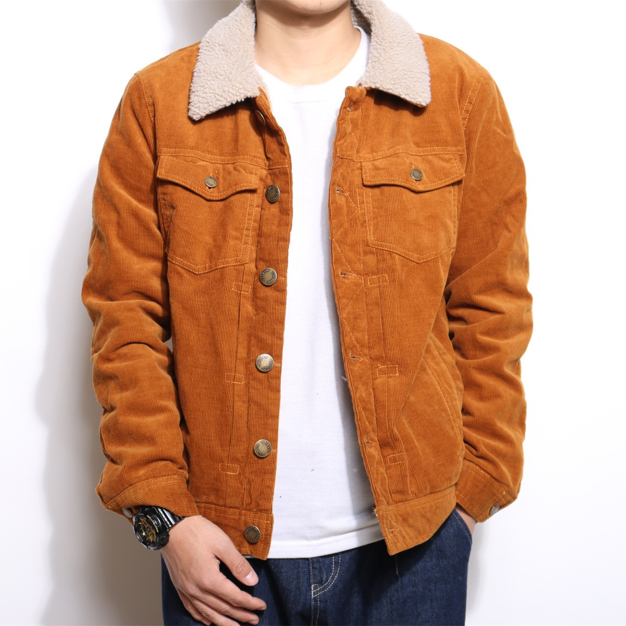 HOO 2020 Men 's Handsome Corduroy Trend Jacket Youth Casual Lapel Lamb Dovetail Denim Jacket In The Spring