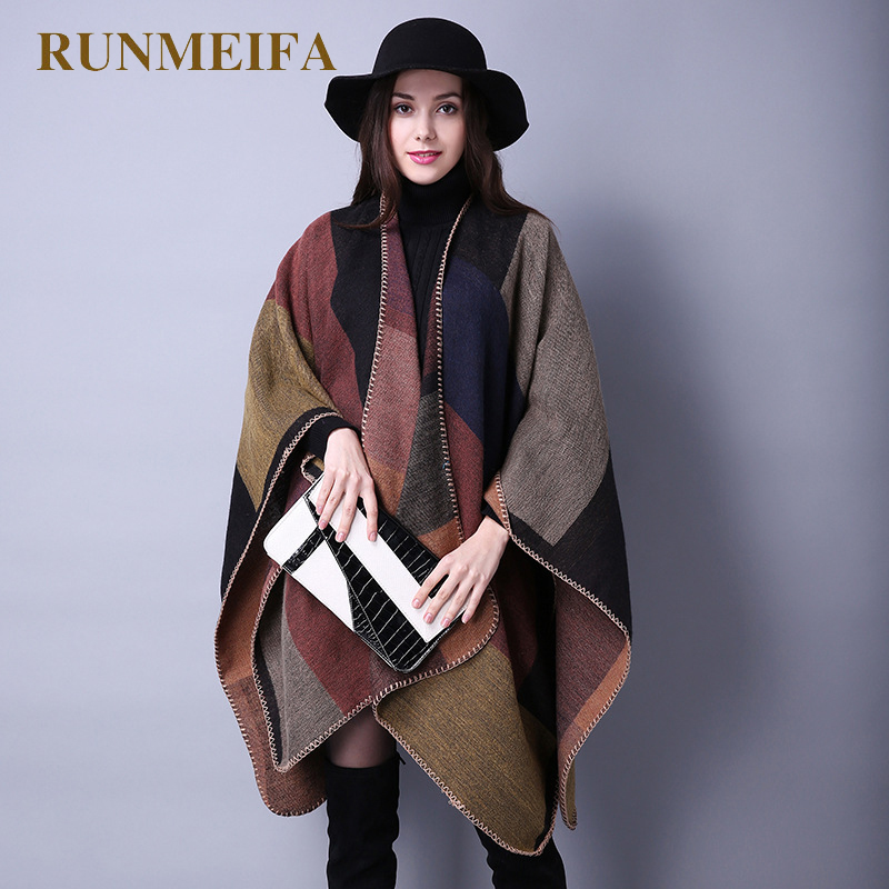 2019 New Fashion Winter Warm Plaid Ponchos And Capes For Women Oversized Shawls And Wraps Cashmere Pashmina Female Bufanda Mujer