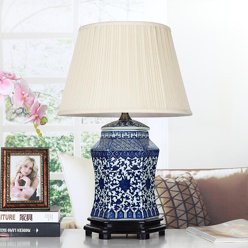 Винтажный стиль фарфоровые керамические настольные лампы для прикроватной тумбочки китайский синий и белый фарфор синий фарфор настольная лампа - 5