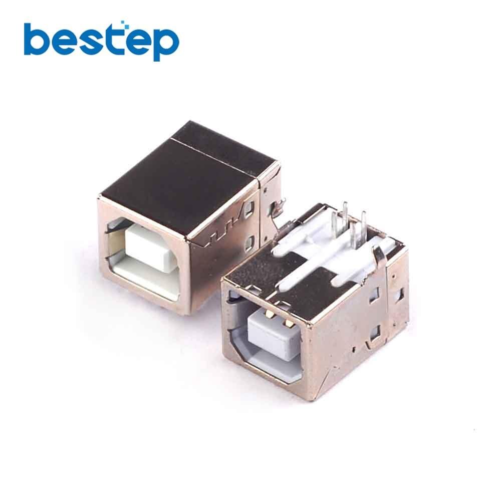 20PCS USB Socket USB-B 90 Degree Bend Needle Female