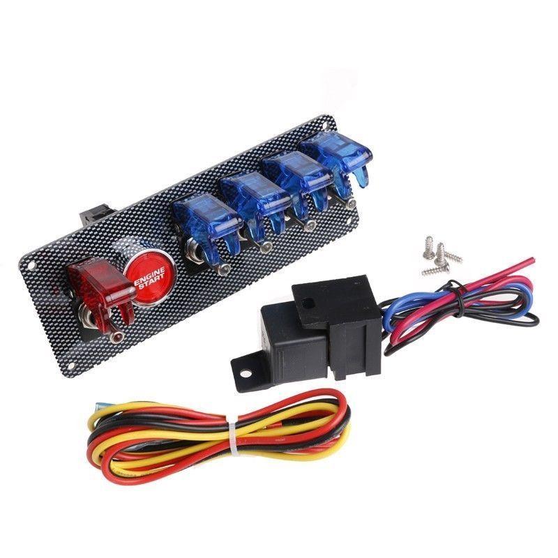 2017 Racing Car 12V Ignition Switch + 4 Blue & 1 Red LED Toggle Button Panel Auto Replacement Interior Parts Switches Relays