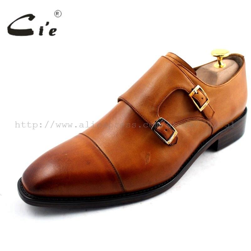 Cie/ ; мужские туфли ручной работы из натуральной телячьей кожи с квадратным носком и двойными ремешками; цвет коричневый;# MS29