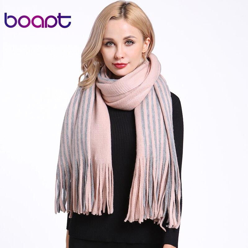 [boapt] Autumn Winter   Scarf   Soft Cashmere Female Striped Plaid Brand Designer Retro Style Shawls Keep Warm Women's   Scarves     Wraps