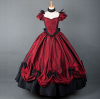 European Red Victorian Dress Ball Gown Medieval Gothic Lolita Dresses Palace Princess Halloween Costumes for Women