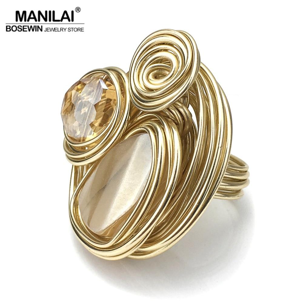 MANILAI Boho Handmade Big Champagne Cristal Anéis Para As Mulheres Da Moda Jóias Da Cor do Ouro Fio Helicoidal Ferida Contas Anel de Dedo