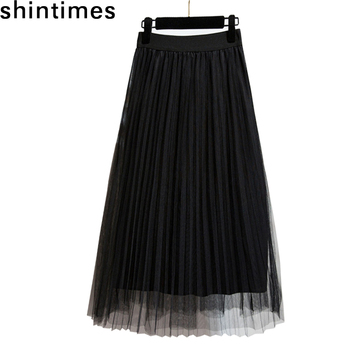 цены Spring Autumn Casual Party Skirt Tulle Skirts Womens 2019 Elastic High Waist Pink Black Long Skirts Elegant Pleated Skirt