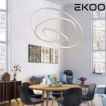 Ekoo 현대 led 원형 원형 d25 + 40 + 60 cm 3 색 디 밍이 가능한 펜던트 조명 카페 바 사무실 홈 램프