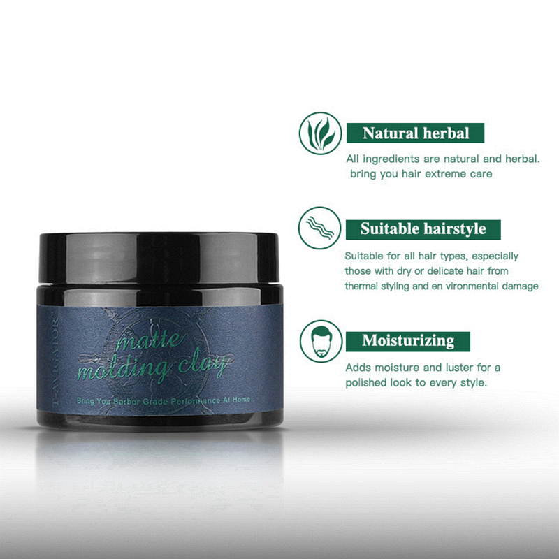 Купить с кэшбэком Hair Clay Men 100g Matte Strong Lasting Natural Herbal Easy-Clean Shinning and Zero flaking Pleasant Fragrance Product