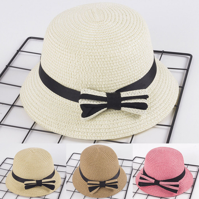 4f1d1cdd 2019 simple Summer Hat Female Panama 3-5 Years Old Children Straw Boater Hat  Festival Summer Sun Beach Hat Caps chapeau femme