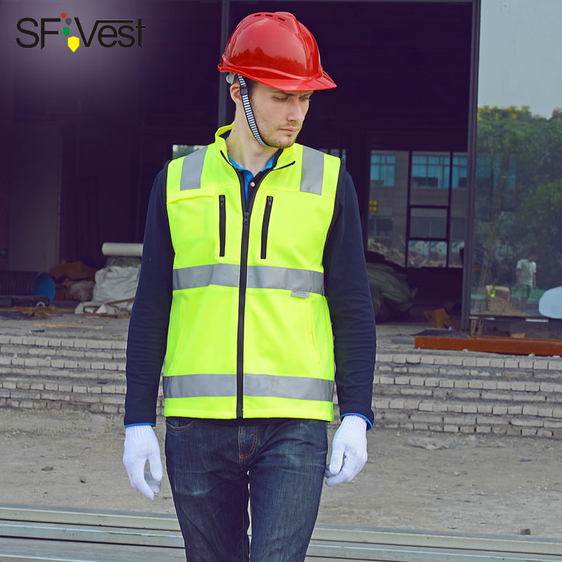 SFVEST BUILDER CONSTRUCTION REFLECTIVE WAISTCOAT ELASTIC OXFORD 3M SCOTCHLITE TAPES WORK VEST WITH ID POCKETS MENS FREE DELIVERY luxury construction