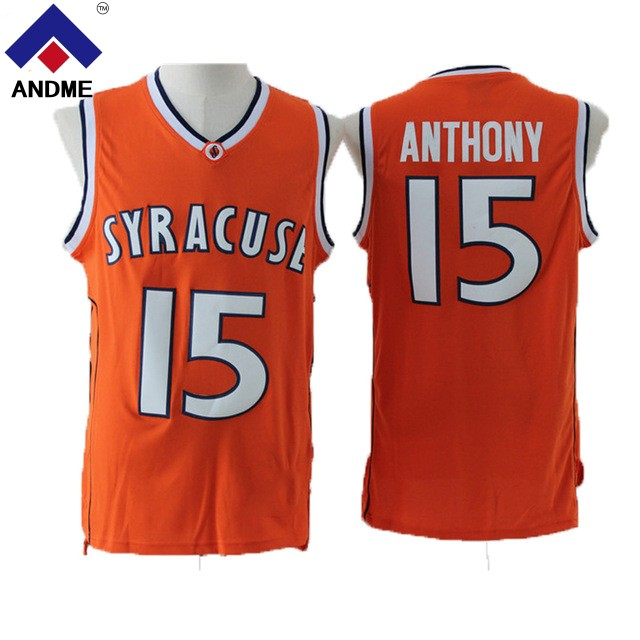 Retro Carmelo Anthony Basketball Jerseys 15 Syracuse University Throwback Knitted Embroidery Shirts 3 Colors Stitched Size S-2XL ...