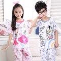Pijamas de Los Niños 2016 Muchachas de Los Niños del Pijama Pijamas Moda Enfant Algodón Cuello Redondo de Los Niños Pijamas Pijamas de Los Muchachos