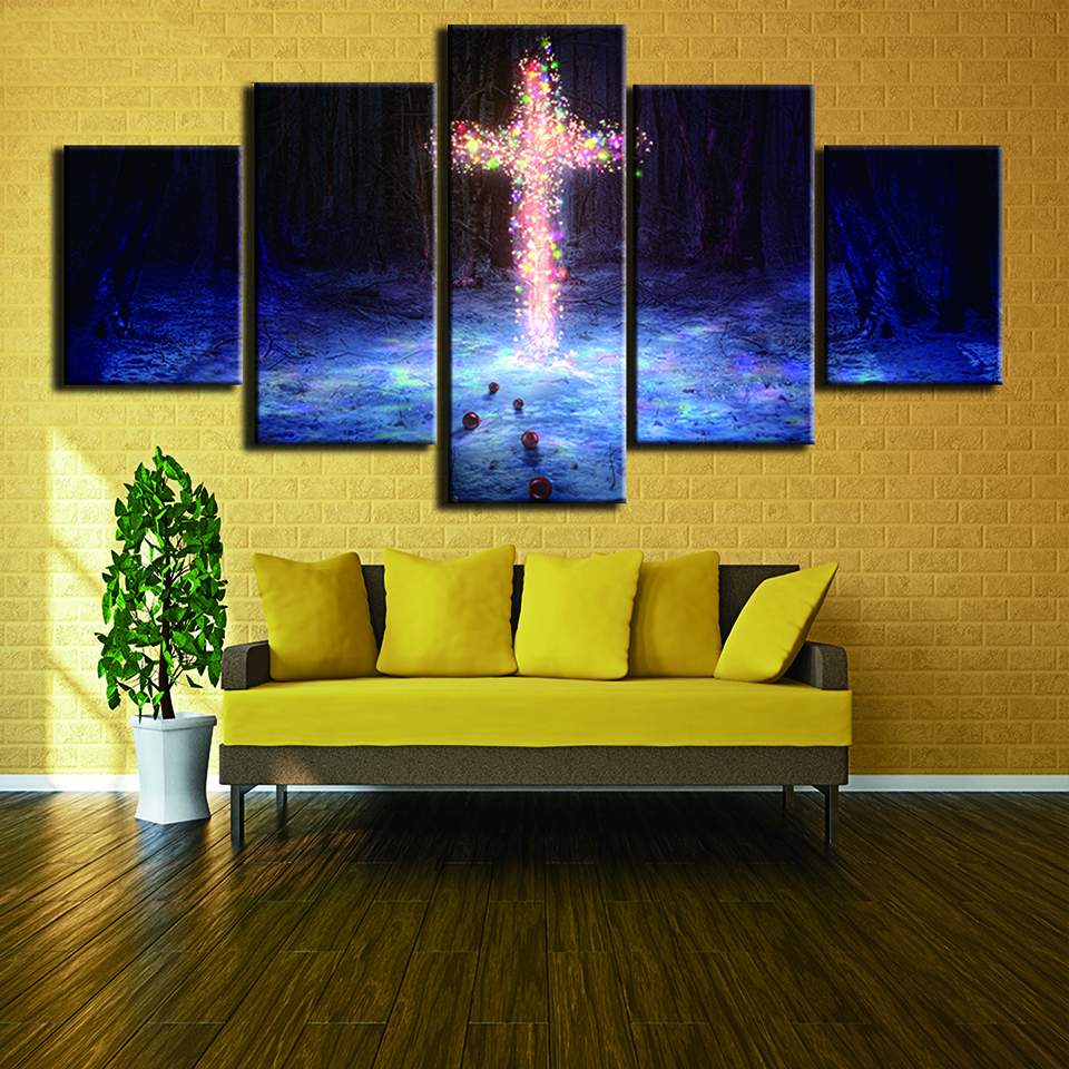 Type Poster Canvas Oil Painting HD Wall Art Pictures 5 Panel Cross ...