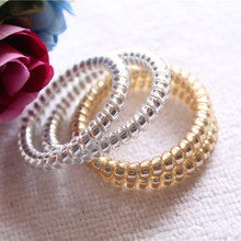 5Pcs Lot Fashion Women Lady Girls Gold Silver Color Elastic Telephone Wire Hair  Bands Ropes Ponytail Holders Hair Accessories 2432b27846bb