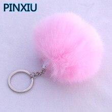 PINXIU Lovely Fluffy Rabbit Ear Fur Ball Key Chain Ring Pendant Cute Pompom Faux Rabbit Fur Keychain Women Car Bag Key Ring YSK8