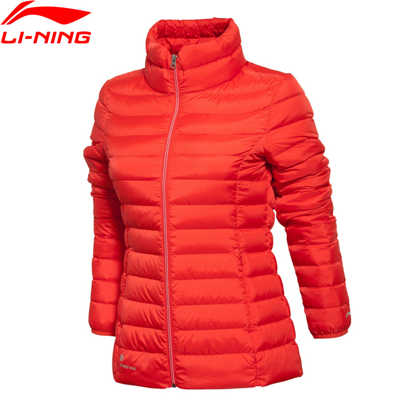 Li Ning Women Coat Training Short Down Jacket ATProof Wind Warm Keep Regular Fit Comfort Li Ning Winter Jackets AYML042 li ning men wade short down jacket at proof wind comfort lining winter jackets aymm183 mwy267