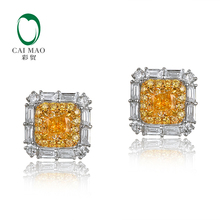 CaiMao 0.9ct Diamond 14k White and Yellow Gold Earring Engagement Fine Jewelry