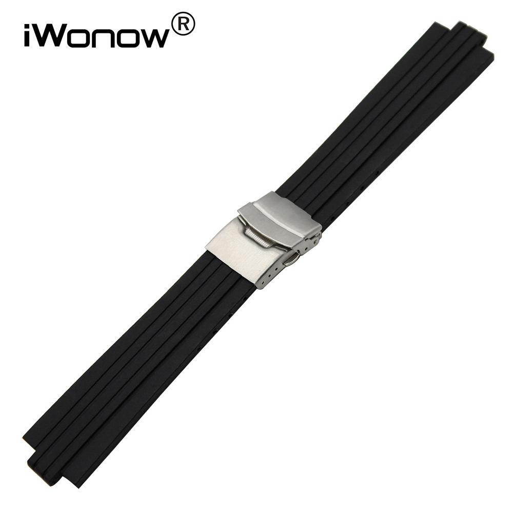 22mm 23mm 24mm Silicone Rubber Watch Band Convex End Strap 8mm 9mm 10mm 11mm 12mm 13mm Stainless Steel Safety Buckle Wrist Strap silicone rubber watch band 10mm x 24mm 12mm x 22mm convex mouth watchband safety clasp strap wrist loop belt bracelet black