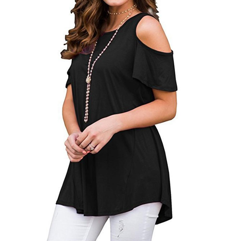 Women Summer Casual Short Sleeve Cold Shoulder Tunic Top Loose Soft Shirt 2019