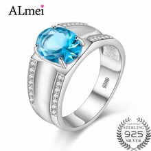 Almei Women 3.5ct Oval Blue Topaz Gemstone Ring Wide Band 925 Sterling Silver Party Finger Rings Fine Jewelry with Box 40% FJ059 almei 8ct teardrop citrine bead 925 sterling silver rose gold color vintage neck jewelry decoration for women with box 40