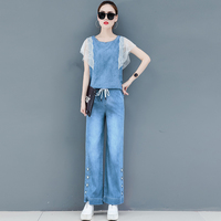 Jeans Denim Suit Women 2019 Summer Two Piece Outfits Co ord Set Wide Pants Suits and Top Sleeveless Lace Tracksuits Clothing