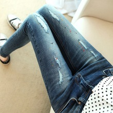 Casual jeans female hole paint thin Slim pencil pants skinny pants ffashion lager size Personality long