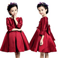 Elegant Long Sleeve Big Bow Dress Girls Autumn Fashion Red Wine Princess Party Tulle Flower Baptism Bow Dresses Kids 4-12Y